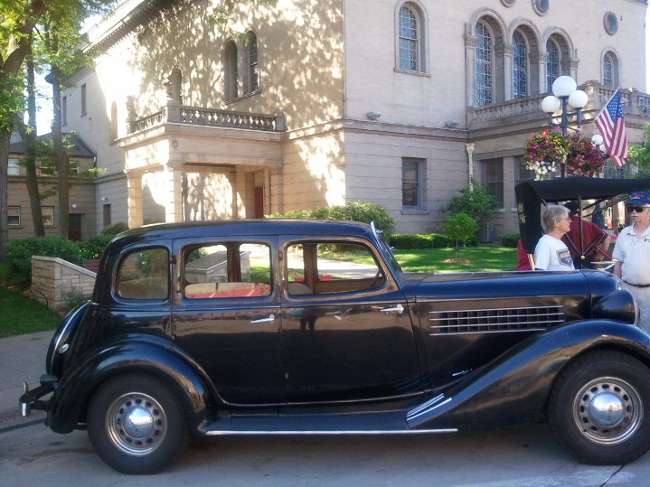 1935 Auburn Coupe 'Genny' rests in a shady spot on a warm day and relishes the discussion about him.